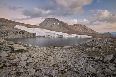 Mount Tyndall and the Lake at Shepherd Pass at Dusk