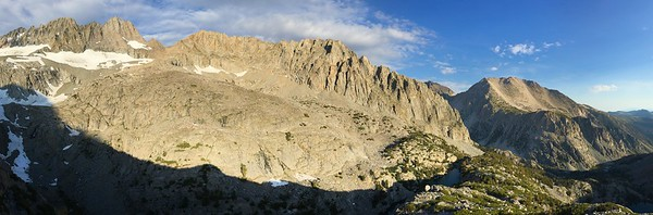 Panorama of Middle Palisade Down Through Willow Lake