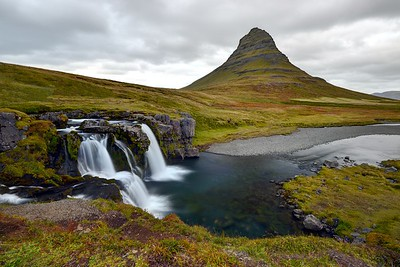 Beautiful Kirkjufellsfoss and Kirkjufell Mountain