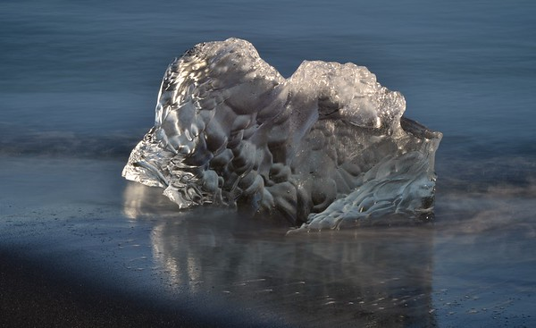 One of the Glacial Carved Icebergs on Diamond Beach