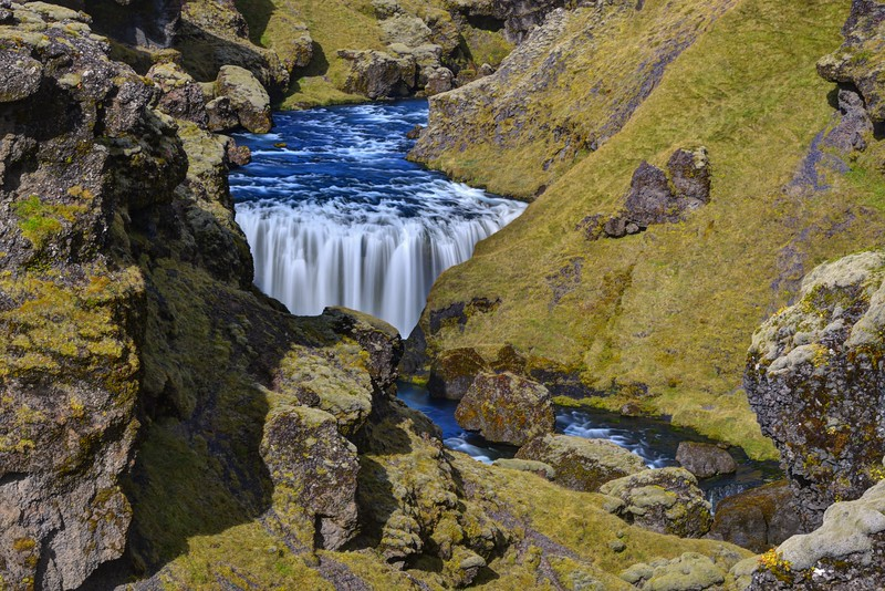 One of the Many Waterfalls in the Canyon Above Skogafoss