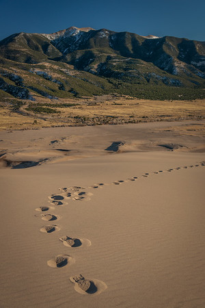 My Footsteps From Atop the Dunes and the Sangre De Cristo Mountains