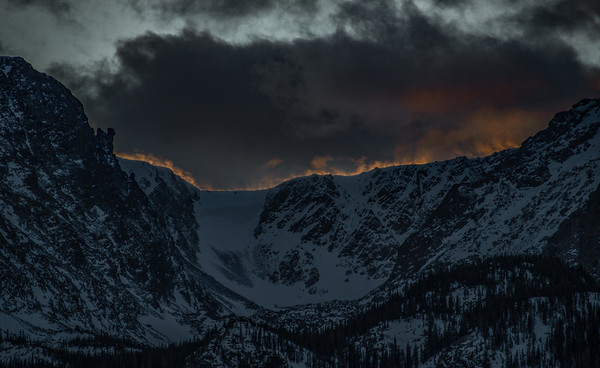 Fiery Ridge at Sunset to the West of Hallet Peak