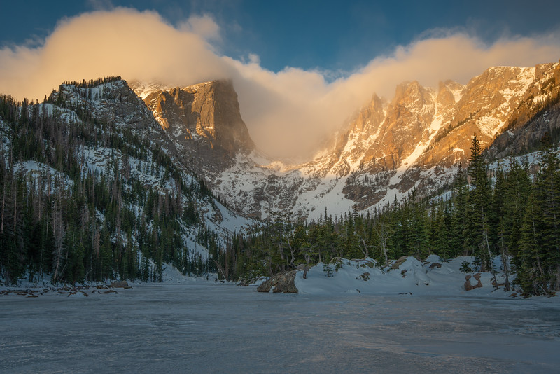 Frozen Dream Lake and Hallet Peak in the Morning