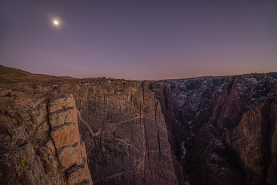 North Rim and the Moon Just After Sunset