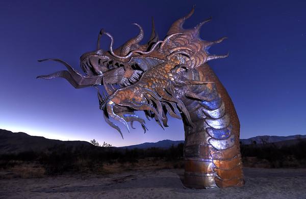 """Dragon of the Desert"" Galleta Meadows Steel Sculptures Borrego Springs, California.  Copyright © 2011 All rights reserved."