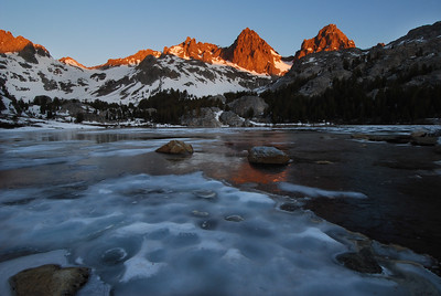Sunrise Banner Peak and Mount Ritter Thawing Lake Ediza