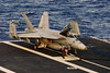Fueling a F-18 prior to launch onboard the USS GEORGE WASHINGTON, CVN-73.