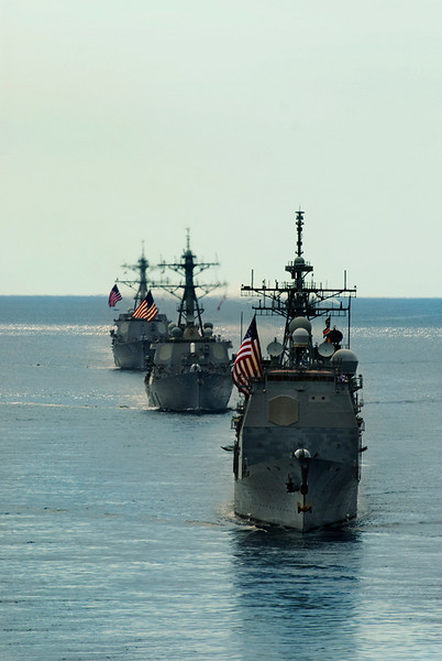 USS COWPENS leads a column at the Indonesian Fleet Review. Manado, Indonesia. Aug, 2009