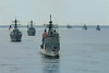 USS COWPENS (CG 63) leads a column of ships during the Indonesian Fleet Review, 2009.