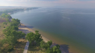 1-Smoke from forest fire obscures Angostura Lake