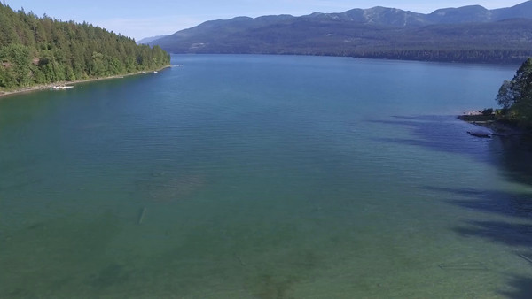 Flying out over Whitefish Lake, Montana