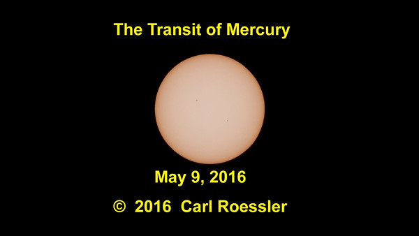 Compared to the Sun, Mercury is an impossibly small dot as it passes in front of the massive solar furnace. I used every technique I know to get something to present to viewers.  Remember, this only happens a dozen times per century, so it is worth recording!