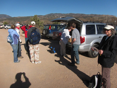 Nine of us in four cars showed up by 8:30 Sat. at the Red Rock Cyn trailhead. So leaving two vehicles here, we carpooled up higher to the Section 16 TH on 26th St.