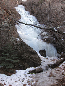 Terrific, we arrived at the frozen waterfall before the sun arrived and wiped it out!
