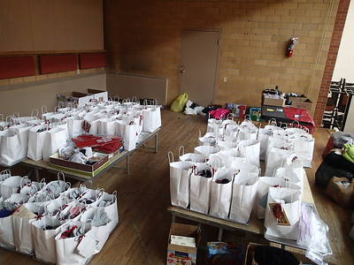 Christmas Gift bags almost ready to go - bags for men, women and kids.