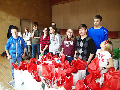 St Mike's Youth ready to hand out the bags.