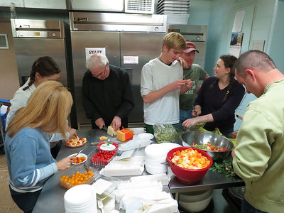 The Lord's Dinner kitchen: deeply absorbed in God's work - making appetizers.