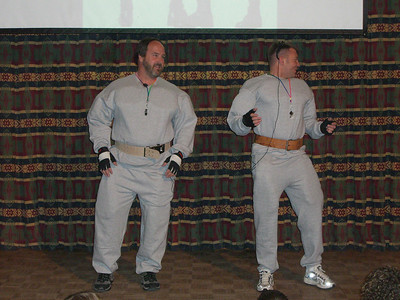 """OK - Session Two.  Surf Report by weight-lifters Hanz and Franz, who were here to """"pump you up."""" The guy on the right needed special padding under his suit!"""
