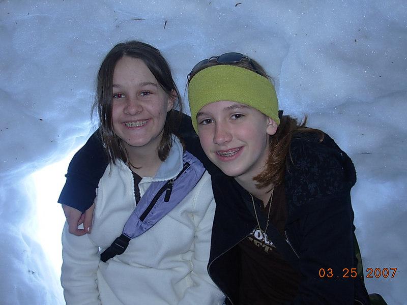 L-R: Leah & Katharine - being brave inside the den.