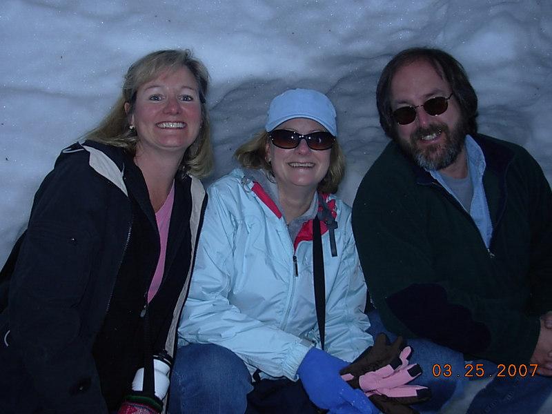 L-R: Leah's mom Victoria, K's mom Patty, and the bear (Joe).