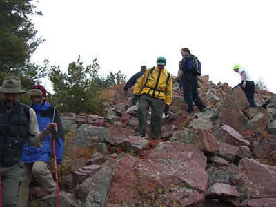 The summit is just slightly above treeline.  Here we begin our descent as more midshipmen scramble to the top.