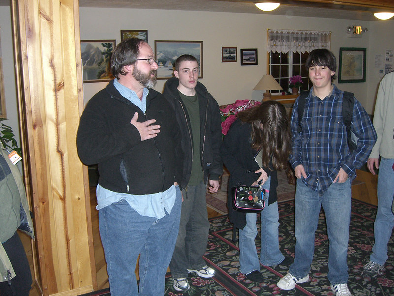Gathering in the motel lobby prior to dinner.