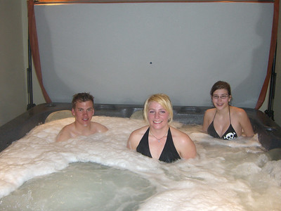 Late night hot tubbing in Leadville: Ben, Laura and Missy.