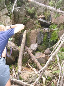 Shooting the waterfall.