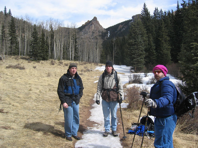 L-R: Kris Schehr, Ben Phelps & Joe Hattick. Joe claims he found the outrageously cool cap on the slopes two weekends earlier during the Youth Snow Trip.
