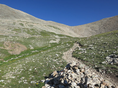 A few switchbacks are in the trail leading up to the saddle.