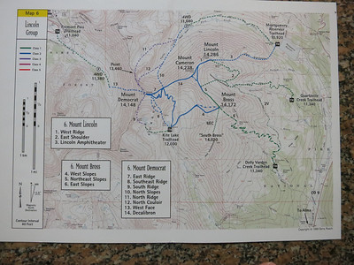 "From Gerry Roach's ""Colorado 14ers"" guidebook. .. We're doing the East Ridge on Mt. Democrat - #7. .. [Close-up in next image.] .. More details here: http://www.14ers.com/routemain.php?route=demo1&peak=Mt.+Democrat  .. after viewing link, use browser's back arrow to return to album."