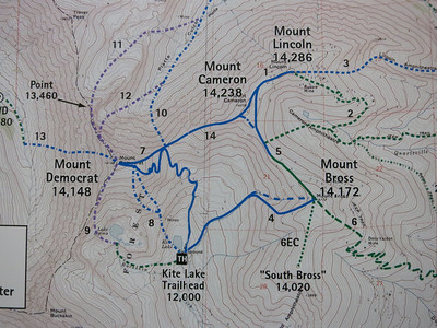 "Climbing all four 14ers (Democrat, Cameron, Lincoln & Bross) in a loop is commonly known as ""The Decalibron,"" based on the first letters of each peak - something at least a third of the climbers will likely be doing."