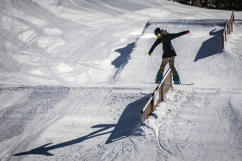Boardslide Main Snowpark Mammoth Mountain