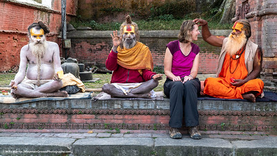 """#5.  Backstory:  In Kathmandu in October, we visited the Pashupatinath temple, a holy temple for Hindus.  While there, we met these Ascetic Sadhus (holy men), who """"blessed"""" us.  While it was a bit too touristy to be true, it did make for great images!!"""