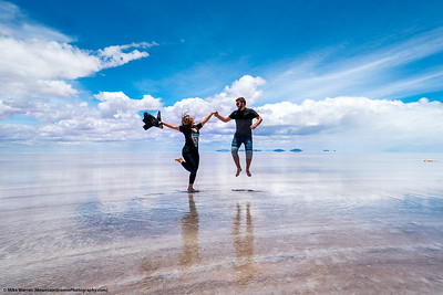#2.  Backstory: Adriel and Isa, in January, on the Solar de Uyuni in southern Bolivia.  The Solar is the largest salt flat in the world, around 4,000 square kilometers, with an average salt depth of 35'.  I asked Adriel and Isa to jump for the camera.  This is what happened!