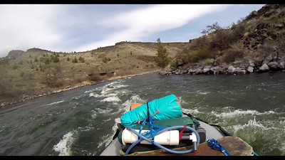 #8. Backstory:  A GoPro mounted on my helmet captures me guiding a gear boat in April through two class 3 rapids on the Deschutes River, in Oregon.  For the record, I did miss that rock!!