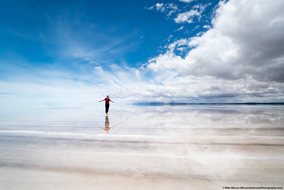 #37.  Backstory:  Cherie' in one of the most spectacular places we have ever been, the Salar de Uyuni, Bolivia.