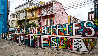 #42.  Backstory:  We are not hippies, we are happies.  Iconic street art in Valparaiso, Chile, a city rightfully known for spectacular street art!