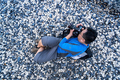 #45.  Backstory:  A birds eye view of Victor taking another awesome picture, on the W Trek in Torres del Paine NP, Chile.