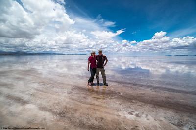 #22.  Backstory: Cherie' and I on the Salar de Uyuni, Bolivia, in January.