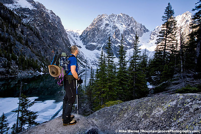 #18 - Scott gazes up at Dragontail and Colchuck Peaks, during my June climb of Colchuck Peak