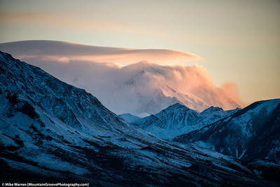 #40 - Alpenglow bathes Denali in its soft red, while the foreground shows the icy cold of Alaska, taken during our drive of the Denali Road in September.