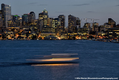 "#45 - A 3"" exposure blurs a boat on Lake Union, in one of the first images taken with my new Nikon D800, in August.  By the first week in October, I was up to approximately 5,000 images on my awesome new camera!"