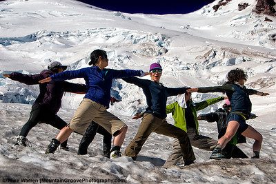 #26 - Yoga on Mt Rainier.  This image is taken the day after our successful summit bid in July, of the women in our group practicing yoga in one of the more beautiful settings imaginable, Camp Schurman, 9,400', Mt. Rainier National Park.