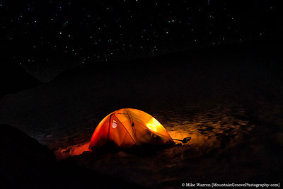 """#5 - Glowing tent with stars above, in this 30"""" exposure taken at about 1am during my August climb of Mt. Baker.  The tent glows from the headlamps of Liana, Margeaux and Meg getting ready for the climb."""