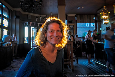 Cherie', all aglow, in a London Pub in July.