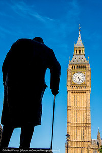 Winston Churchill, and Big Ben, London, in July.