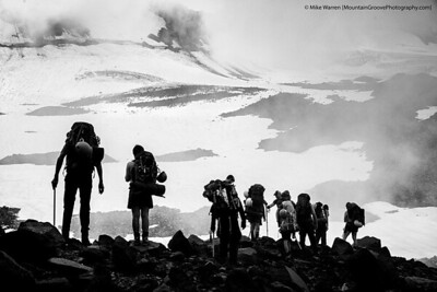 #17 - Climbers silhouetted on Mt. Adams, just below basecamp on my August climb of Adams via the Mazama Glacier.  Handheld, f/7.1, 1/500, ISO200