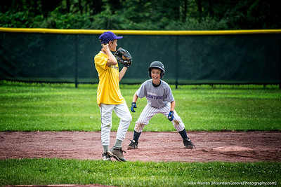 #2 - I love pictures that tell a story.  Michael (baserunner) and Cole (with glove) are best of friends off the diamond.  But in this game they were assigned different teams.  Here Cole slyly tries to pull the old hidden ball trick on Michael, but Michael will have nothing of it!  Handheld, f/5.6, 1/125, ISO640